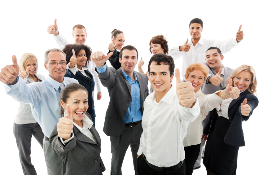 Successful Business People Showing Thumbs Up.